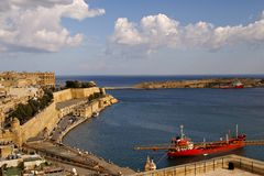 Beautiful autumn day in the old harbor of  Valetta City Stock Photography