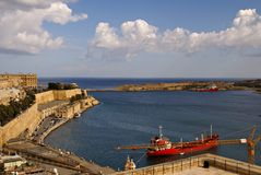Beautiful autumn day in the old harbor of  Valetta City Stock Photo