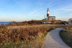 Beautiful Autumn day to visit Montauk Point Lighthouse, Hamptons, New York stock image