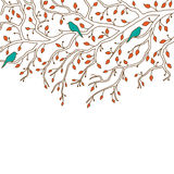 Beautiful autumn decoration for postcard, greeting card etc. Beautiful autumn decoration: three birds are sitting on a branch Royalty Free Stock Image