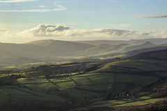 Beautiful Autumn Fall landscape of Hope Valley from Stanage Edge Stock Images