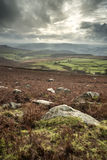 Beautiful Autumn Fall landscape of Hope Valley from Stanage Edge Royalty Free Stock Photo