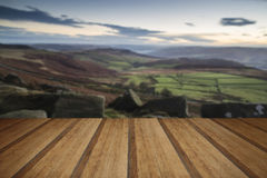 Beautiful Autumn Fall landscape of Hope Valley from Stanage Edge Stock Photography