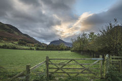 Beautiful Autumn Fall landscape image of Lake Buttermere in Lake Stock Images