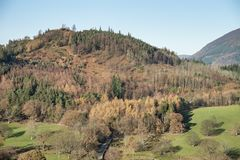 Beautiful Autumn Fall landscape image of the view from Catbells near Derwentwater in the Lake District with vivid Fall colors all