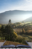 Beautiful Autumn Fall sunrise foggy landscape image over country Royalty Free Stock Image