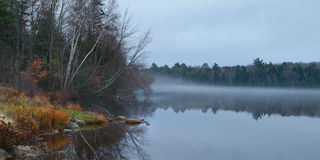 Beautiful Autumn Foggy River Stock Images