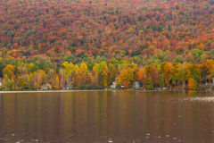 Beautiful autumn foliage and cabins in Elmore state park, Vermon Royalty Free Stock Photo