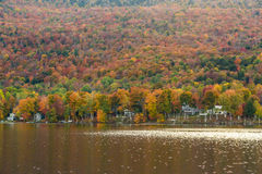 Beautiful autumn foliage and cabins in Elmore state park, Vermon Royalty Free Stock Image
