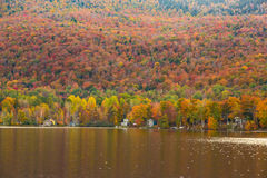 Beautiful autumn foliage and cabins in Elmore state park, Vermon Royalty Free Stock Images