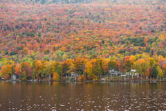 Beautiful autumn foliage and cabins in Elmore state park, Vermon Royalty Free Stock Photography