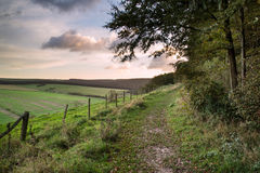 Beautiful Autumn forest and fields during sunrise landscape Stock Image