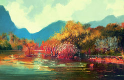 Beautiful autumn forest. Painting of beautiful autumn forest,illustration Stock Photography