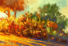 Beautiful autumn forest with sunlight. Landscape painting of beautiful autumn forest with sunlight stock illustration