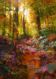 Beautiful autumn forest with sunlight. Landscape painting of beautiful autumn forest with sunlight Stock Image