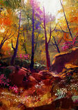 Beautiful autumn forest with sunlight. Landscape painting of beautiful autumn forest with sunlight royalty free illustration