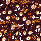 Beautiful autumn garden. Vector seamless background pattern with flowers and plants Royalty Free Illustration