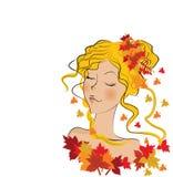 Beautiful autumn girl. Illustration background Royalty Free Stock Photo