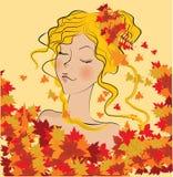 Beautiful autumn girl. Illustration background Stock Image
