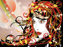 Beautiful autumn girl. Art colorful illustration of woman face with autumn floral vector illustration