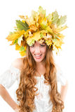 Beautiful autumn girl shouts Stock Images