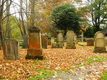 Beautiful autumn in the graveyard Royalty Free Stock Images