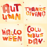 Beautiful autumn Holidays words with red leaves. On the beige background Royalty Free Stock Photo