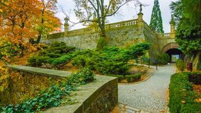 Free Beautiful Autumn In The Garden - Northern Poland - With A Tunnel In The Middle Of The Mountains - With A Corridor In The Center Of Stock Image - 142130371