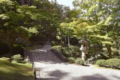 Beautiful autumn japanese garden in Seattle. On sunny day Royalty Free Stock Images