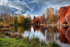 Beautiful autumn in Karelia. Autumn in different colors in Karelia near fortress Korela Stock Photography