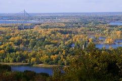 Beautiful autumn on Kiev left river side Stock Photos