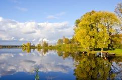 Beautiful autumn lake evening landscape Royalty Free Stock Photography
