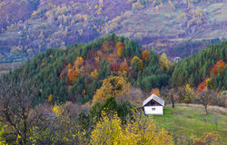 Beautiful autumn landscape aand withe house Royalty Free Stock Photo