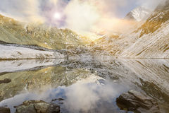 Beautiful autumn landscape, Altai mountains Russia. Stock Photos