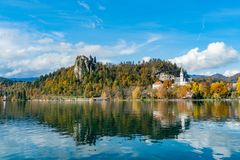 Beautiful Autumn Landscape Around Lake Bled With The Castle And St. Martin S Parish Church Royalty Free Stock Photography