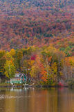 Beautiful autumn landscape and cabins in Elmore state park, Vermont Stock Photos