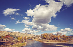 Beautiful autumn landscape with Eagle River, USA. Stock Images