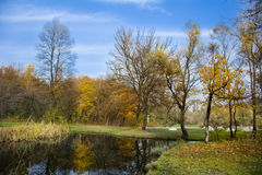Beautiful autumn landscape with lake  in front Stock Photo