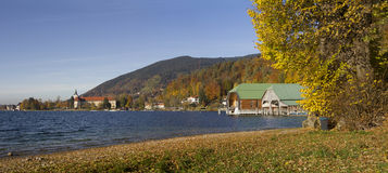 Beautiful autumn landscape lake tegernsee, view to boat houses a Stock Photos