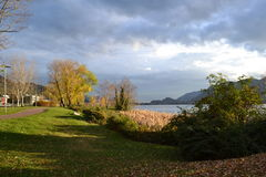 A beautiful autumn landscape at Lecco in Italy. Royalty Free Stock Photos