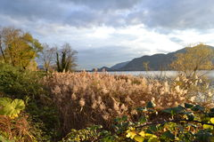A beautiful autumn landscape at Lecco in Italy. Royalty Free Stock Photography