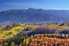 Romania Autumn Landscape in Traditional Village. Autumn landscape in traditional Magura village with Bucegi mountains, Romania stock photos