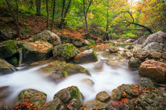 Beautiful autumn landscape with mountain river Stock Photography