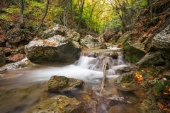 Beautiful autumn landscape with mountain river Royalty Free Stock Photos