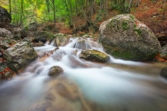 Beautiful autumn landscape with mountain river, stones Stock Photography