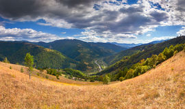 Beautiful autumn landscape in the mountain village Royalty Free Stock Image