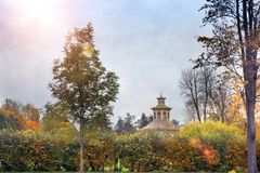 Beautiful autumn landscape with Pavilion in the Chinese style in the suburb of St. Petersburg Pushkin, Russia royalty free stock photography