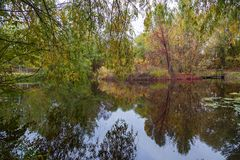 Beautiful autumn landscape with reflections in the water Royalty Free Stock Photo