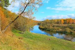 Beautiful autumn landscape with river Stock Photo