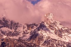 Autumn Landscape in the Snow Covered Tetons at Sunrise. A beautiful autumn landscape in the snow covered Tetons at sunrise Stock Images